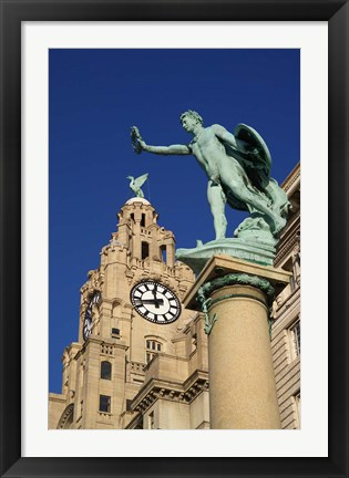 Framed Liver Building and Statue, Liverpool, Merseyside, England Print