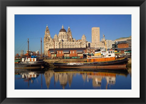 Framed Liver Building and Tug Boats from Albert Dock, Liverpool, Merseyside, England Print