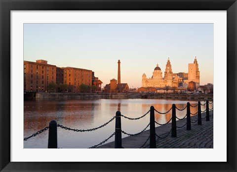 Framed Liver Building from Albert Dock, Liverpool, Merseyside, England Print