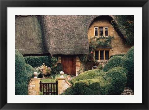 Framed Thatched Roof Home and Garden, Chipping Campden, England, Print
