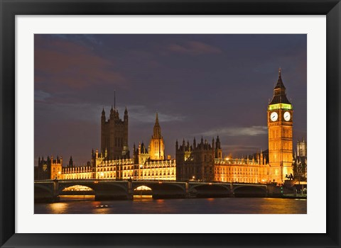 Framed Big Ben and the Houses of Parliament, London, England Print