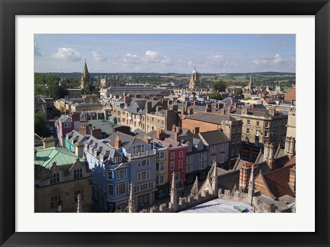 Framed High Street and Christchurch College, Oxford, England Print