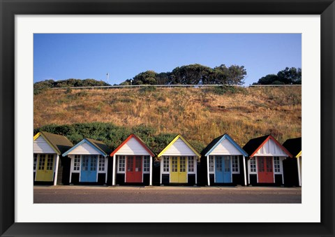 Framed Beach Huts at Bournemouth, Dorset, England Print