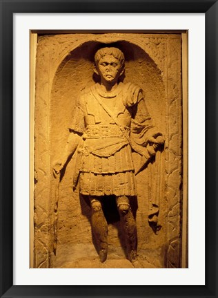 Framed Tombstone of Roman Centurion, Colchester Museum, Essex, England Print