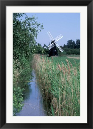Framed Wickham Fen Wind Pump, Cambridgeshire, England Print