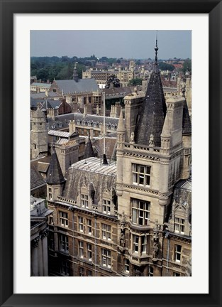 Framed Roofs of Cambridge Univertisy, Cambridge, England Print