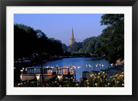 Framed Holy Trinity Church and Barges on River Avon, Stratford-on-Avon, England Print