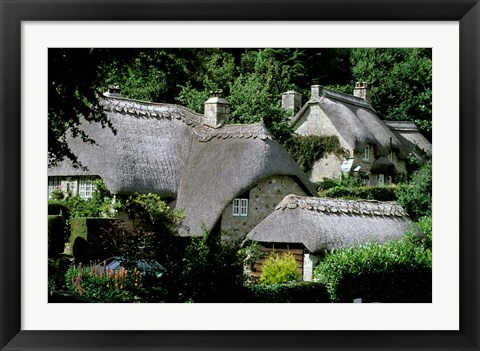 Framed Thatched Cottages, Buckland in the Moor, Devon, England Print