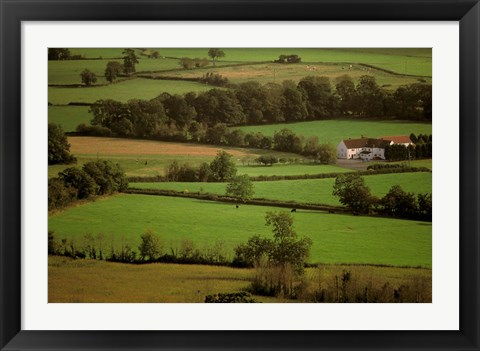 Framed View of Farmlands from Glastonbury Tor, Glastonbury, Somerset, England Print