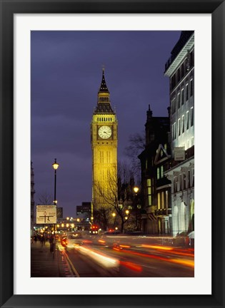 Framed Big Ben at night with traffic, London, England Print