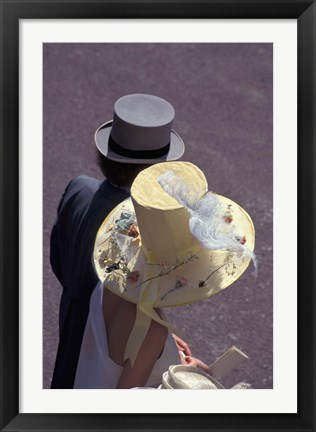 Framed Man and woman wearing hats, Royal Ascot, London, England Print
