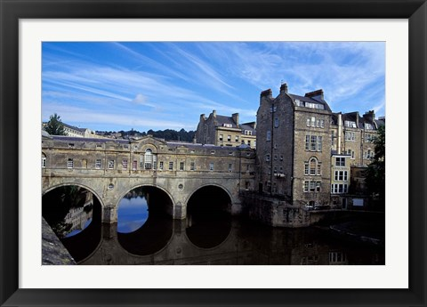 Framed River Avon Bridge with Reflections, Bath, England Print