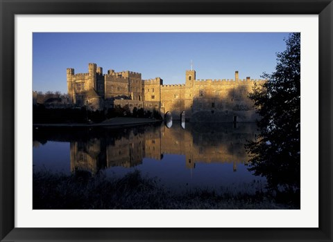 Framed Sunset on Leeds Castle, Leeds, England Print