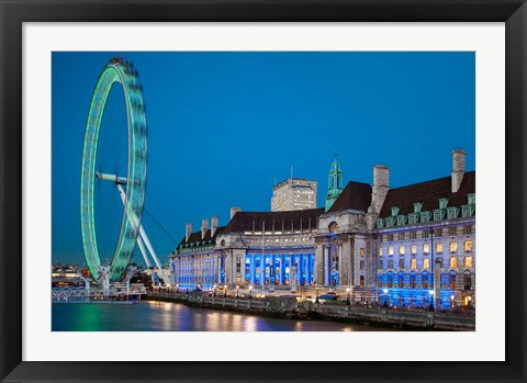 Framed London Eye, River Thames, London, England Print