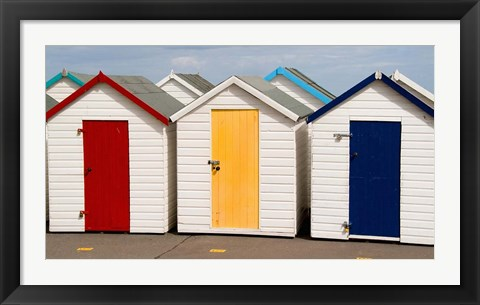 Framed Bath Houses in Paignton, Devon, England Print