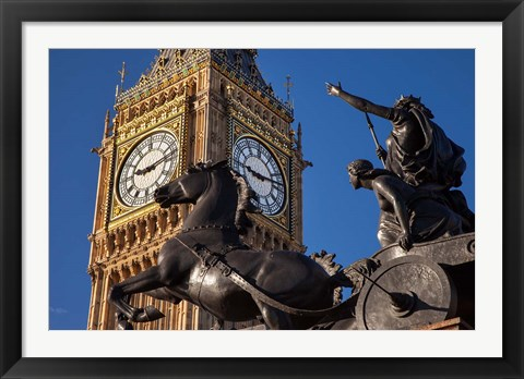 Framed Horse and chariot statue, Big Ben, London, England Print