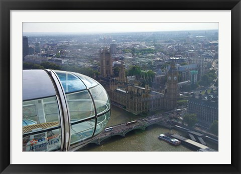 Framed London Eye as it passes Parliament and Big Ben, Thames River, London, England Print