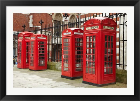 Framed Phone boxes, Royal Courts of Justice, London, England Print