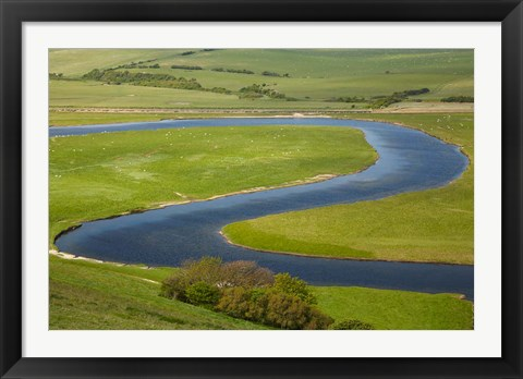 Framed River Cuckmere, near Seaford, East Sussex, England Print