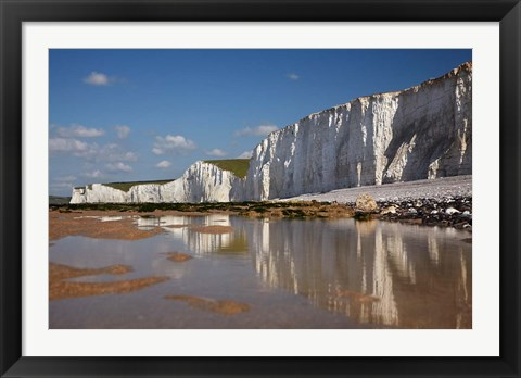 Framed Seven Sisters Chalk Cliffs, Birling Gap, East Sussex, England Print