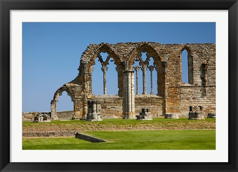 Framed Whitby Abbey ruins (built circa 1220), Whitby, North Yorkshire, England Print