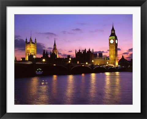 Framed Big Ben, Houses of Parliament and the River Thames at Dusk, London, England Print