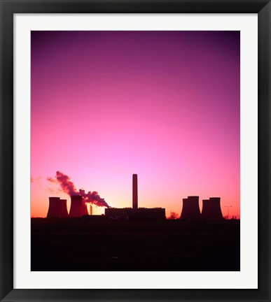 Framed Coal Fired Power Station, Warrington, Cheshire, England Print