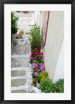 Framed Street Detail, Vathy, Samos, Aegean Islands, Greece Print