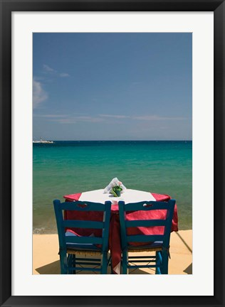 Framed Greece, Aegean Islands, Samos, Waterfront caf? Print