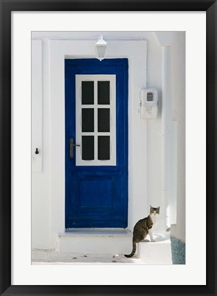 Framed Village Door with Cat, Kokkari, Samos, Aegean Islands, Greece Print