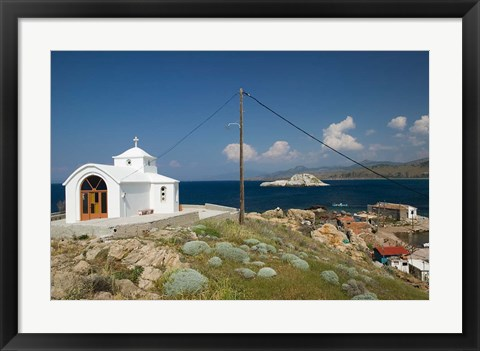 Framed Agios Pantelemonos Waterfront Church, Gavathas, Lesvos, Mithymna, Greece Print