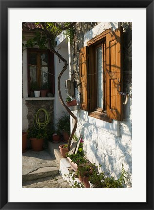 Framed Building Detail, Lesvos, Mithymna, Northeastern Aegean Islands, Greece Print