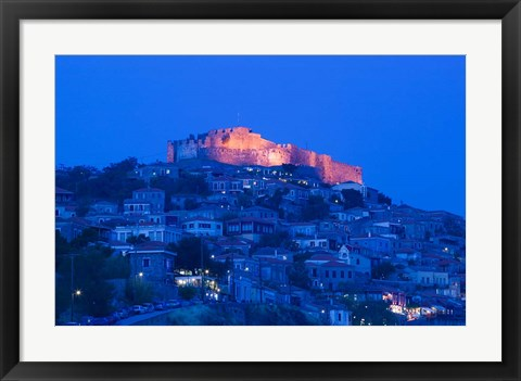 Framed Byzantine-Genoese Castle, Lesvos, Mithymna, Northeastern Aegean Islands, Greece Print
