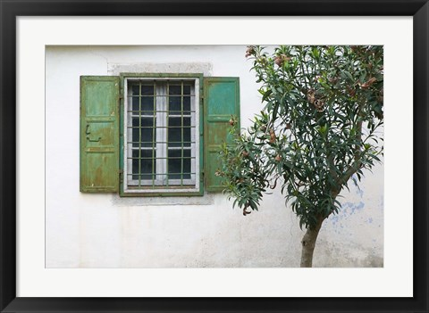Framed Courtyard Detail, Limonos Monastery, Filia, Lesvos, Mithymna, Aegean Islands, Greece Print