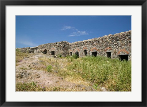 Framed Detail of Old Fortress, Sigri, Lesvos, Mithymna, Northeastern Aegean Islands, Greece Print