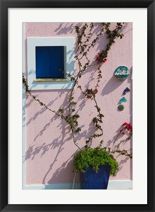 Framed Detail of Pastel Condo, Assos, Kefalonia, Ionian Islands, Greece Print