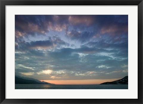 Framed Greece, Aegean Islands, Samos, Vathy Bay Sunset Print