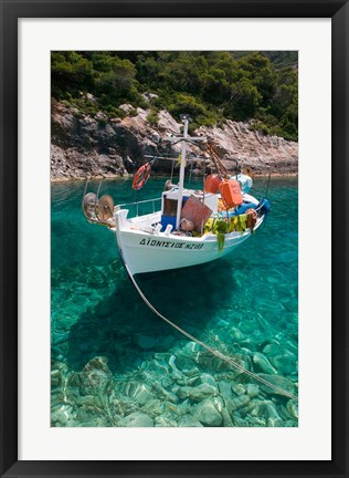 Framed Greece, Ionian Islands, Zakynthos, Fishing Boat Print