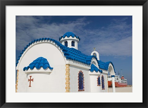 Framed Greek Orthodox Chapel, Port of Kyllini, Peloponnese, Greece Print