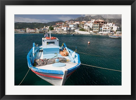 Framed Kokkari Waterfront, Samos, Aegean Islands, Greece Print