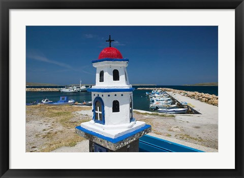 Framed Miniature Fishing Harbor Chapel, Sigri, Lesvos, Mithymna, Northeastern Aegean Islands, Greece Print