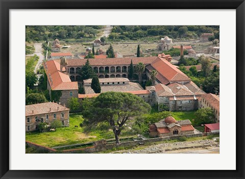 Framed Overview of Limonos Monastery, Filia, Lesvos, Mithymna, Aegean Islands, Greece Print