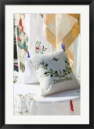 Framed Pilow with Embroidery, Anafonitria, Zakynthos, Ionian Islands, Greece Print