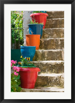 Framed Staircase with Flower Planters, Fiskardo, Kefalonia, Ionian Islands, Greece Print