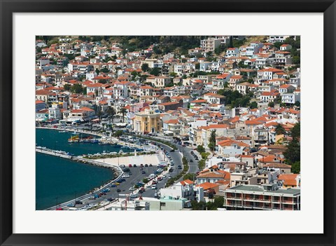 Framed Town View with Harbor, Vathy, Samos, Aegean Islands, Greece Print