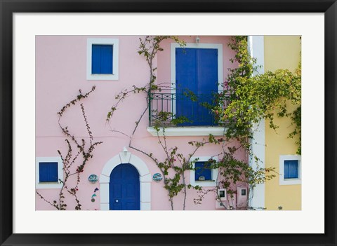 Framed Vacation Villa Detail, Assos, Kefalonia, Ionian Islands, Greece Print