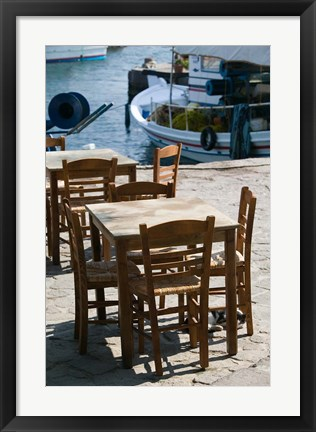 Framed Waterfront Cafe Tables, Skala Sykaminia, Lesvos, Mithymna, Northeastern Aegean Islands, Greece Print