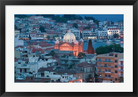 Framed Waterfront View of Southern Harbor and Agios Therapon Church, Lesvos, Mytilini, Aegean Islands, Greece Print