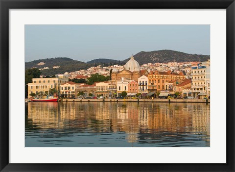 Framed Waterfront View of Southern Harbor, Lesvos, Mithymna, Northeastern Aegean Islands, Greece Print