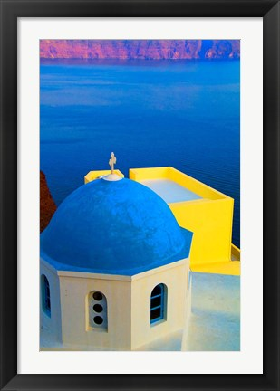 Framed Beautiful Church with Blue Roof, Oia, Santorini, Greece Print